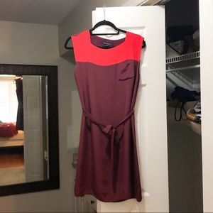 French Connection Burgundy/Coral Colorblock Dress